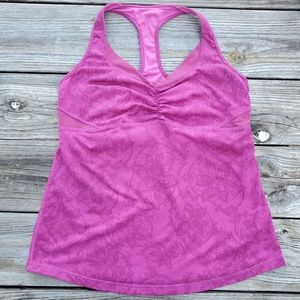 Magenta/Fuchsia Lululemon top with build in bra.
